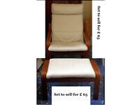IKEA POÄNG Armchair + Footstool - Cream leather