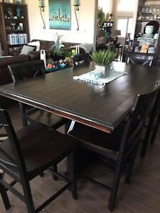 Solid Wood Black Dining Set with 6 Chairs-Bar Height