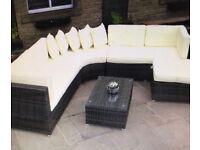 Rattan Garden corner sofa set brown