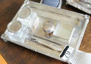 Rare– Solid Sterling Tray and 2X Sterling Lidded Crystal Inkwell