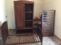 Children's bedroom furniture set , wardrobe cot bed and changing unit