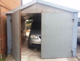 5.7m x 2.7m metal shed/workshop currently being uaed as a garage window to rear needs repairing.