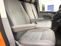 VW T5.1 Transporter Captains Drivers Seat & Double Passenger Seat Gary leatherette Place Fabric