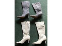 LADIES LONG BOOTS 2 PAIR SILVER GLITTER SIZE 8 WHITE ICE SIZE 7/40 PLEASE VEIW ALL PHOTOS