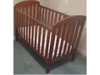 Cot in Brown from John Lewis with mattress