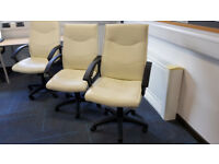 Cream White PU Leather Office Chairs Job Lot x 4 units
