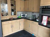Kitchen Units (Beech) & Worktop (Black) For Sale - Good Condition