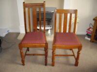 Six medium oak dining room chairs inc 2 carvers