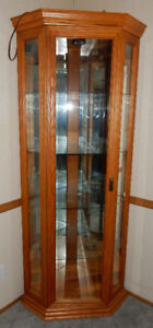 Oak Corner Display Cabinet
