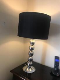Heavy chrome ball lamp . Silk shade .