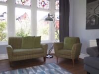 Green Wool NEXT Snuggle Chair With Matching Armchair