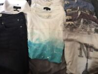 River Island Men's Small. 8 tshirts, jeans and formal shirt.Hardly worn, from a smoke free home