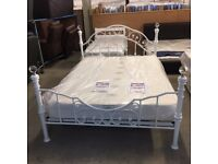 NEW White metal double bed frame with crystal detail