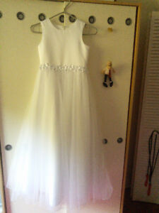 First Communion dress - size 8& shoes