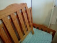 Pine toddler cot/bed.