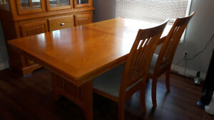 Hutch and Buffet and 9-piece Dining Table Set