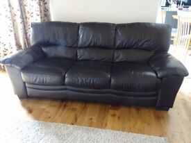 Dark Brown Leather 3 x seater and 2 x seater sofas
