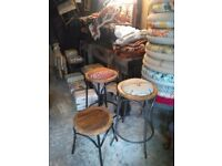 vintage metal bar bentwood style stools large quantity available funky fabrics or solid wood seats