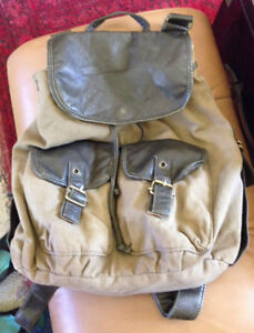 Back to School? Vintage Aldo Leather and Khaki Knapsack