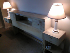 Vintage (late '50s) double bed with dresser and bedside lamps