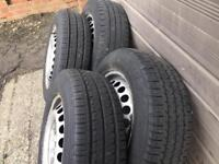 Vw transporter t5 steel rims alloy wheels 4 good tyres