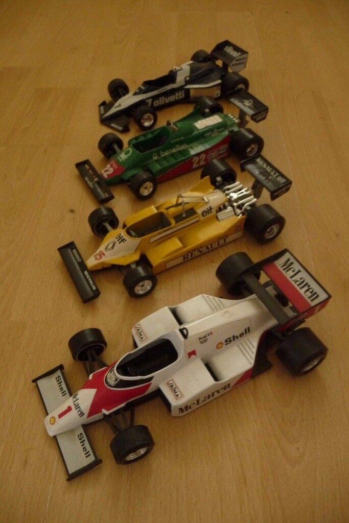 4x Burago die-cast model racing cars (late 1980s)