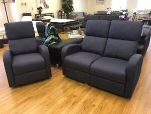 HOMETOWN - DENIM 2PC RECLINING LOVESEAT AND CHAIR SET