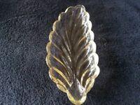 Leaf shaped glass dish