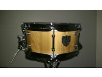 DSP Drums 12x5 Cedar Stave snare drum with Walnut stripes, Handmade in England