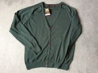 Brand New BURTON Mens Cardigan, L, Petrol Green with Tags