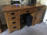 Solid oak desk, 18 months old, as new condition £220