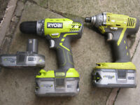 ryobi 18v cordless drill and impact driver with 3 batteries