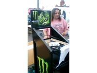 monster drink display cabinet