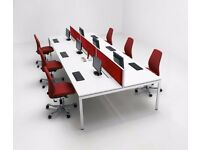 60 - BENCH WORKSTATIONS IN WHITE - 1400MM X 800MM PER PERSON