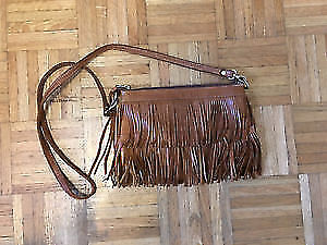 Roots Brown Fringe Purse