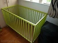 Ikea green cot adjustable to two heights