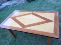 Dining Table, solid wood, patterned veneer, vintage style, pick up from Epsom Surrey