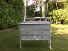 Hand painted vintage oak chest of drawers with mirror attatched