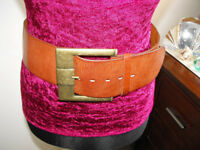 Vintage Ladies Wide Chestnut Coloured Leather Belt with Brass Buckle