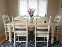 Beautiful solid pine farmhouse dining table and chairs