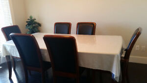 100% Genuine Leather six chairs and dining table