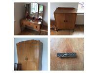 Antique Art Deco bedroom set wardrobe dressing table cabinet