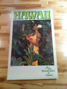 Vintage Travel Poster United Airline Hawaii 1967 by Art Allen