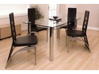**HASTINGS**BRAND NEW TEMPERED GLASS DINING TABLE SET WITH 4 LEATHER CHAIRS