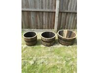 Oak Whisky Barrel Planter Set