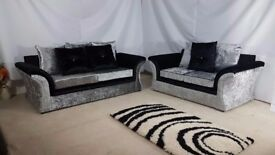 VAGUS 3+2 SEATER SOFA CRUSHED VELVET BLACK/SILVER + FREE FOOTSTOOL | EXPRESS DELIVERY ALL UK