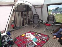 Outwell Maryland tent with front extention/awning and carpet.