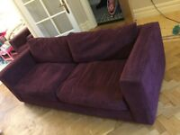 Large three seater aubergine corduroy. Pulse armchair. £100 for both.