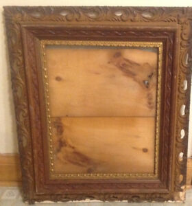 Large Antique Wood backed Picture Frame