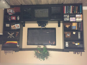 Tv Stand fire place and book cases